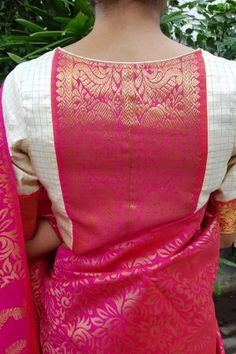 Cream checks kanchi silk zari blouse - Cream pure kancheepuram silk blouse with pure zari pink border and back detailing. Blouse is lined and open in the front Lehenga Designs, Saree Blouse Neck Designs, Fancy Blouse Designs, Kurta Designs, Latest Blouse Designs, Saris, Stylish Blouse Design, Outfit Invierno, Blouse Models