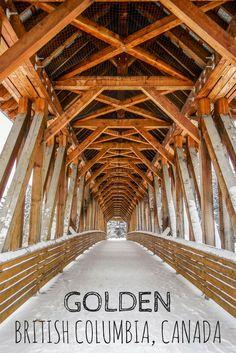 Kicking Horse Pedestrian Bridge, Canada's longest freestanding timber frame bridge is in Golden, B.C.