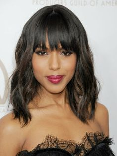 Kerry Washington: The Scandal star always looks flawless, but her grown-out fringe is particularly noteworthy. If you're opting for a lob like Kerry Washington's, ask your stylist to cut you longer, choppier bangs. Anything too short will look more playground than posh.