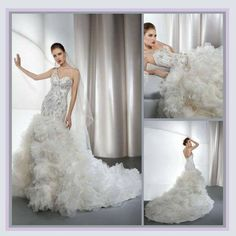 Regency Cathedral Train One Shoulder Strap Mermaid Rhinestone Organza Lace Gown Offered by #DiVASHACK  on Bonanza - in Many Fabulous Colors