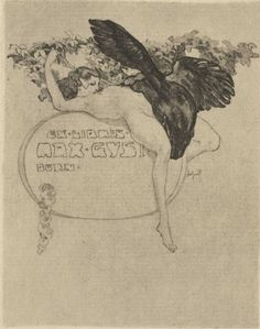 Franz von Bayros - Bookplate for Max Gys(t) of Bern, featuring Leda and the (black) swan