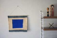 """Hand Woven Wall Hanging """"Blue Square""""  9 x 10 by magnapaint on Etsy, $45.00"""