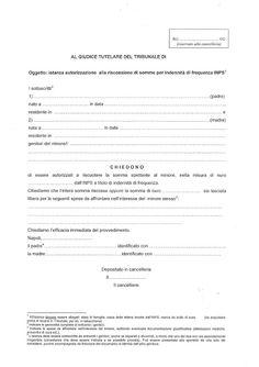Studio Legale Buonomo (Na / Ce): Modello istanza autorizzazione al Giudice Tutelare...