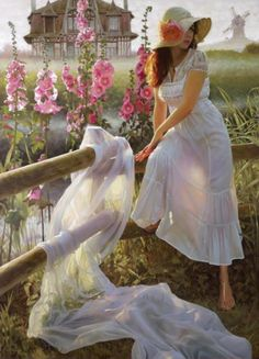 beautiful-oil-painting-by-andrei-belichenko-woman-garden-dream