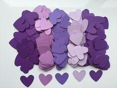 500 Purple 1 Heart Confetti  Purple Wedding by FreshlyCutCrafts