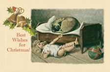 Pug & Antique Doll MY BED! ~ Christmas Cards