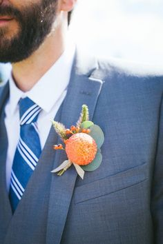 Dahlia boutonniere with foliage and berries for a Whidbey Island wedding by Tobey Nelson Events + Design