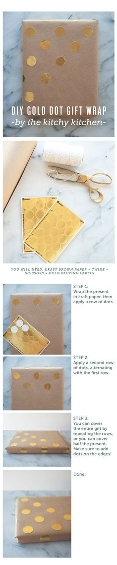 GOLD DOT // DIY GIFT WRAPPING // The Kitchy Kitchen