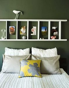 Rustic Ladder Headboard, Creative Headboard Decorating Ideas, http://hative.com/creative-headboard-decorating-ideas/,