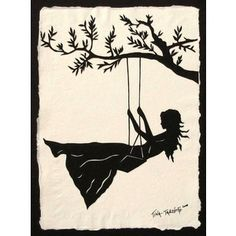 Swing Set Silhouette | Paper Cutting and Silhouettes / Girl on a Swing Original Papercut Art ...