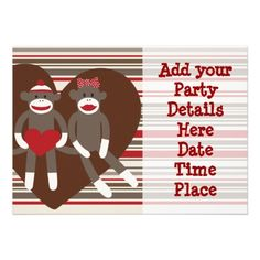Sock Monkey Custom Party Invitations Templates