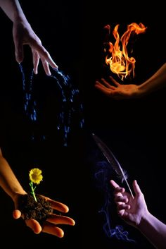 The four elements ... water, fire, earth, and wind.