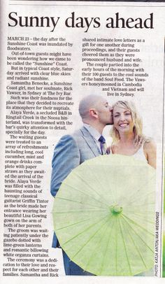 Wedding Belles Newspaper column  by  www.suzanneriley.com.au Suzanne Riley Marriage Celebrant