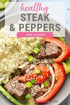 Healthy Steak & Peppers is a delicious Instant Pot meal, full of protein, nutrients and lower in calories. The key to its flavor lies in the easy sauce! Gluten Free Recipes For Dinner, Healthy Gluten Free Recipes, Healthy Dinner Recipes, Vegetarian Recipes, Healthy Low Calorie Meals, Low Calorie Recipes, Healthy Eating, Healthy Steak, Stuffed Peppers Healthy