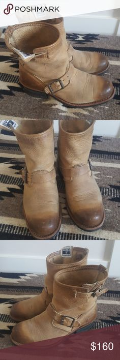 Frye 8R Engineer Boots Tan 7.5 Loved but tons of life ledt in them! Just trying to downsize my shoe collection. Size stamp has worn off but they are 7.5! Frye Shoes Combat & Moto Boots