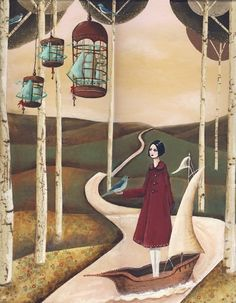 ships in bluebird cages, sarah blank Art Fantaisiste, Bird Cages, Texture Art, Whimsical Art, Surreal Art, Oeuvre D'art, Blue Bird, Art Pictures, Painting & Drawing