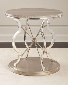 Chrome Finish Round Silver Side Table