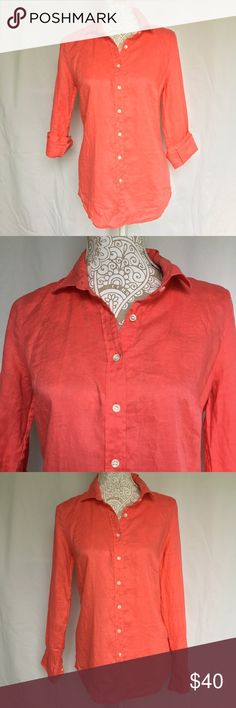 J. Crew // Perfect Shirt in Linen - coral A beautiful button up from J. Crew. Fiery coral color. Thicker material in linen. Long sleeves. In excellent condition. J. Crew Tops Button Down Shirts