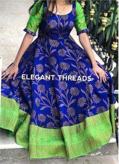 Old saree dresses Salwar Designs, Lehenga Designs, Half Saree Designs, Kurta Designs Women, Kurti Designs Party Wear, Long Gown Dress, Frock Dress, Saree Dress, Kalamkari Dresses