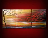 blowing wind red tree painting abstract landscape art acrylic original wall art cloud canvas 28 x 66 Mattsart