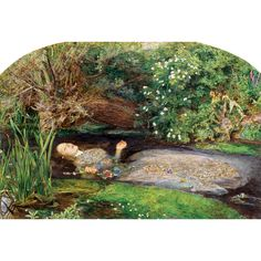 Millais' famous portrayal of Ophelia from Shakespeare's Hamlet. This beautiful death scene shows nature in detail, with the poppy symbolising death, daisies innocence and pansies love in vain. Pink Floyd, John Everett Millais Ophelia, Ophelia Painting, Pre Raphaelite Paintings, Tate Britain, Growing Roses, Art History, Buy Art, Illustration Art