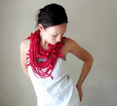 Shag Scarf Necklace  Red Upcycled Jersey Cotton by EcoShag on Etsy, $29.50