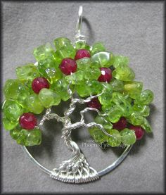 Apple Tree - Tree of Life Pendant with Peridot and Ruby Red Jade Gemstones Wire Wrapped Sterling Silver August Birthstone Teacher Gift $60      #treeoflife #tree #treejewelry #jewerly #jewellry #treependant #gemtree #beadedtree #wirewrapped #silver #sterlingsilver #sterling #handmade #PFD #PhoenixFireDesigns #apple #appletree #teacher #adameve #fruittree #fruit #forbiddenfruit #peridot
