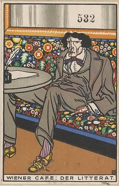 Viennese Café: The Man of Letters (Wiener Café: Der Litterat) Artist:Moriz Jung (Austrian (born Czechoslovakia) Moravia 1885–1915 Manilowa (Carpathians)) Publisher:Published by Wiener Werkstätte Date:1911 Medium:Color lithograph Dimensions:sheet: 5 1/2 x 3 9/16 in. (14 x 9 cm) | The Met