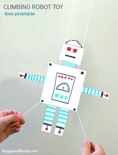 STEM for Kids: Free Printable Gliding Robot Toy- Fun science and art activity for kindergarten, first grade, and on up. Perfect for a rainy day! ~ BuggyandBuddy.com