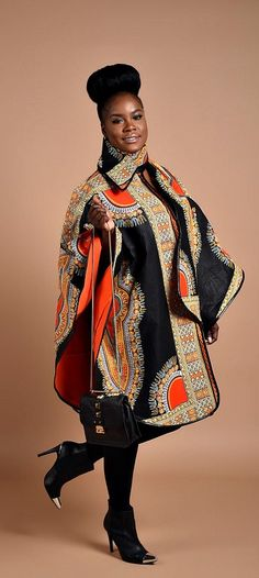 ***Luxury has arrived with this comfortable Unisex African print Poncho, fully lined with cotton Wear it over a coat or a sweater Its edges are Trimmed with Pleather. One Size Fits All Made from cotton wax print Hand made in Canada DRY CLEAN ONLY African Dresses For Women, African Wear, African Attire, African Women, Xhosa Attire, African Lace, African Print Fashion, Africa Fashion, Fashion Prints