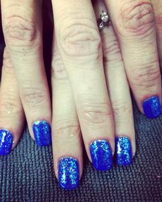 Loving this bright blue & sparkly mermaid mani that {Sarah} got today 💙 #glossbeautybarsheboygan
