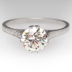 1920s Old Euro Diamond Solitaire Antique Platinum Ring