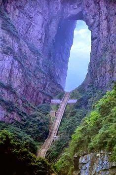 Heaven's stairs in Tian Men Shan, China