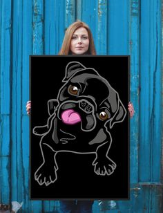 Home decoration is tedious and boring. Instantly improve your home decor with this essential Playful Black Pug Canvas Wall Art