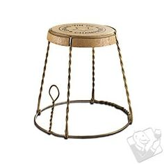 Champagne Cork Wire Cage Side Table in  from Wine Enthusiast on shop.CatalogSpree.com, your personal digital mall.