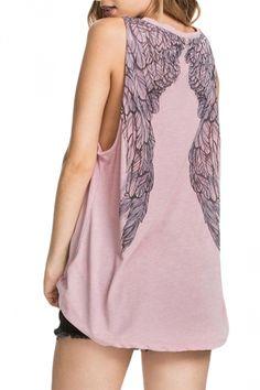 Pink Wing Printed Casual Sleeveless  Tank Top