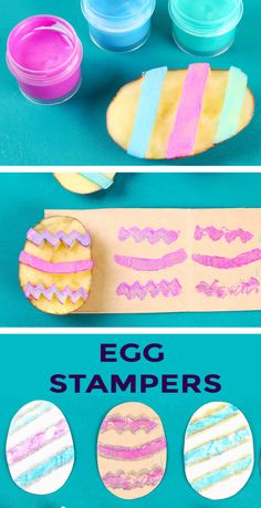 Turn a potato into an Easter egg! This fun craft for kids transforms a potato into super cool art stampers- a must-try for all ages! Easter Craft Activities, Art Activities For Toddlers, Spring Activities, Learning Activities, Spring Arts And Crafts, Creative Arts And Crafts, Easter Crafts For Kids, Cool Easter Eggs, Easter Egg Crafts