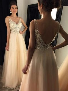 Glamorous A-line V-neck Tulle Floor-length Appliques Lace Backless Prom Dresses $165.99