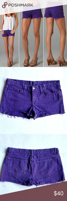 """J Brand Low Rise Cutoff Shorts in Bright Purple These cutoff colored denim shorts feature 5-pocket styling and a single-button closure. Wrinkling at front. Frayed bottom hem.  * 17"""" waist. 9"""" rise. 2"""" inseam. * Fabrication: Denim. * 100% cotton. * Wash cold. * Made in the USA.  In excellent LIKE NEW condition. J Brand Jeans"""