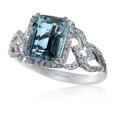 EFFY Aquamarine & Diamond Cocktail Ring in 14K White Gold