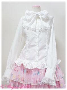 Angelic Pretty - Lyrical Bunny Bowtie Blouse /// ¥10,290 /// Bust: 92.5~106cm Waist: 79~92cm Length: 55cm Shoulder Width: 37cm Sleeve Length: 58.5cm + 3cm lace Sleeve Cuff: 21cm