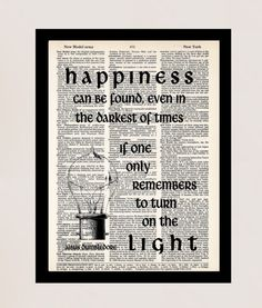 Harry Potter Print Dumbledore Quote Happiness Can Be by Motif4U