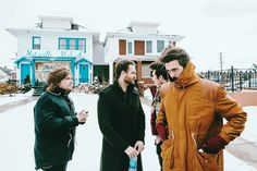 Bastille>>> just look at all of them, dan is like staring of in an entire different direction, will looks like he's trying to figure out the meaning of life or something, woody is well being woody, and Kyle is like it is just too unnaturally cold right now, life should not be functioning right now, how are all of u people not Eskimos right now?