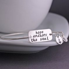 Hope Anchors the Soul Bangle  Bracelet Inspirational jewelry by georgiedesigns