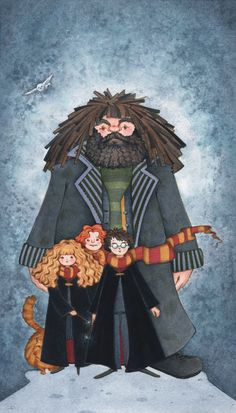Harry Potter-Hagrid, Harry, Ron and Hermione