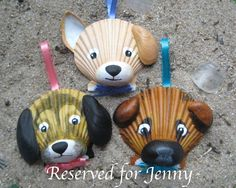 Seashell dog ornaments reserved for Jenny.