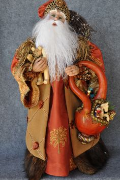"Mediterranean Father Christmas - OOAK 18"" tall-polymer clay-Marilynn Huston"