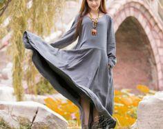 Anysize double-layer linen&cotton A-line maxi dress spring autumn winter warm dress plus size dress plus size clothing F3A