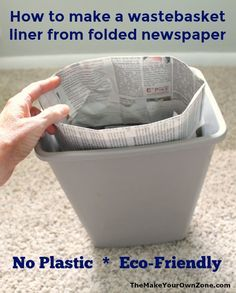 Recycle Old Newspapers To Make Your Own Bags Make homemade bags from old newspapers with this simple folding method. Reduce plastic waste and recycle your old newspapers instead! Plastic Waste, No Plastic, Recycled Plastic Bags, Diy Cleaning Products, Cleaning Hacks, Fun Craft, Reduce Reuse Recycle, How To Recycle, Old Newspaper