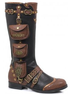 Steampunk Pocket Flat Boot for Women - Black Our Price: $86.50